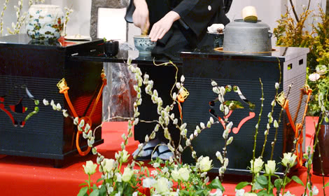 花祭壇に猫柳を