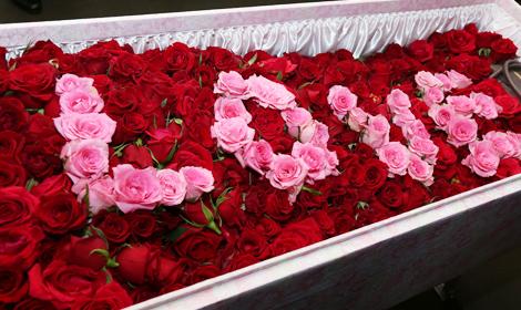 お柩へ真紅のバラを