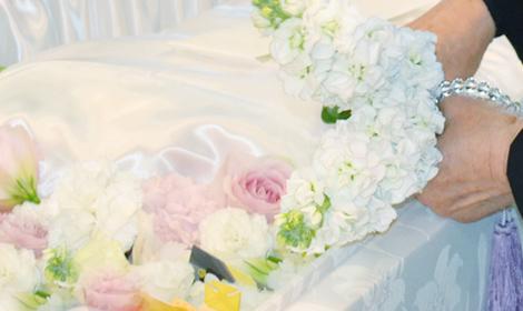 ピンクのバラを献花